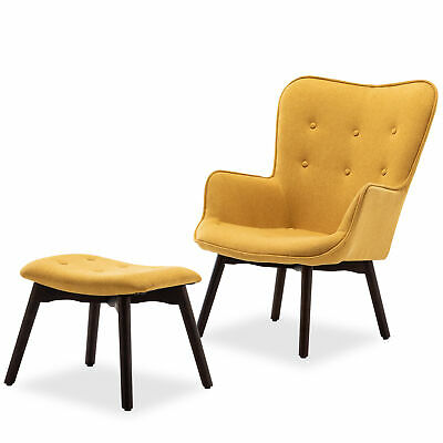 Yellow Modern Tufted Lounge Chair, Ottoman Upholstered Linen With Wood Legs
