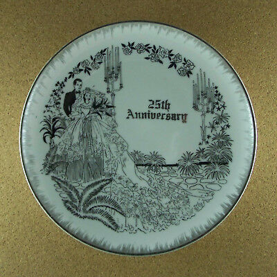 25th ANNIVERSARY PLATE Bride & Groom Silver on White 9 1/8-inches Charming Gift