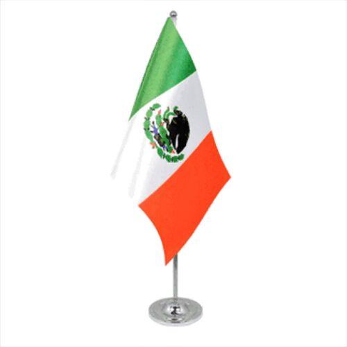 Mexico Satin & Chrome Premium Table Flag
