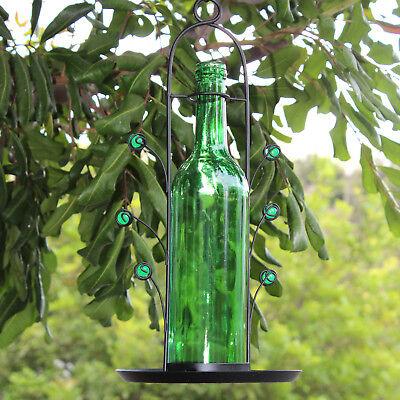 NEW Hanging Wine Bottle Bird Seed Cafe Feeder Vino Great Gift Bottom Fill Green