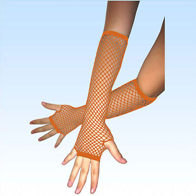 Fingerlose Netzhandschuhe ORANGE Abendgarderobe Netz Handschuhe Handschuh