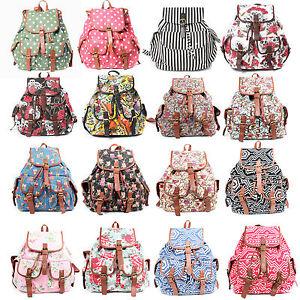 Ladies-Canvas-Retro-Vintage-Large-Backpack-Women-Rucksack-Shoulder-School-Bag