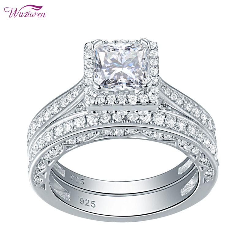 Wuziwen Engagement Wedding Ring Set For Women Sterling Silver Princess Aaaaa Cz