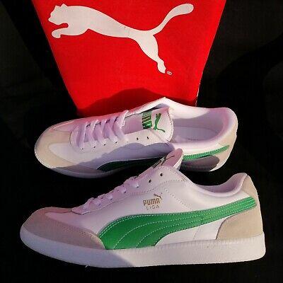 New PUMA Liga Leather/Suede White/Green Size 11