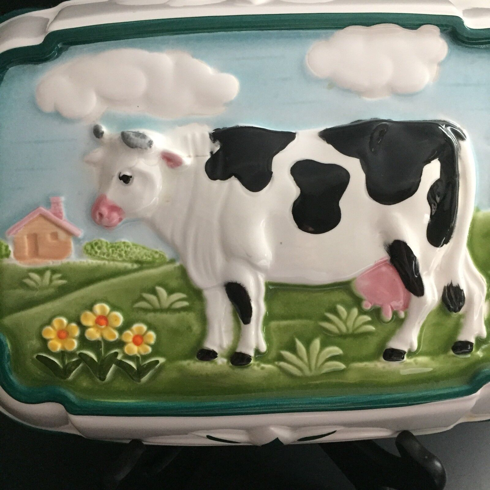 1 of 6 colorful cow kitchen decor molded glass dish green trim milk cow in pasture 2 of 6 colorful cow kitchen decor