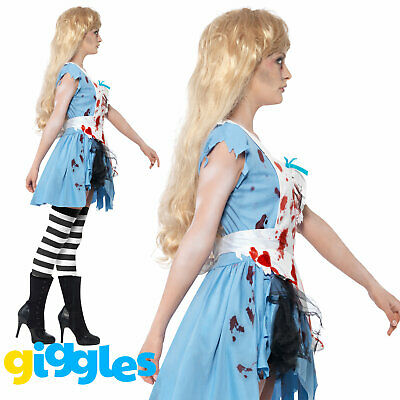 Zombie Malice in Wonderland Costume Womens Ladies Scary Alice Fancy Dress Outfit