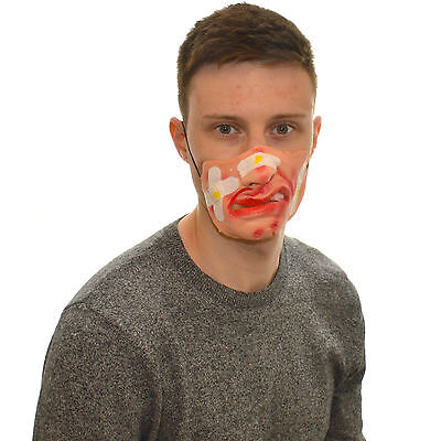 Half Face Plaster Cut Funny Fancy Dress Latex Mask For Kids & Adults Halloween - Funny Halloween Masks For Kids