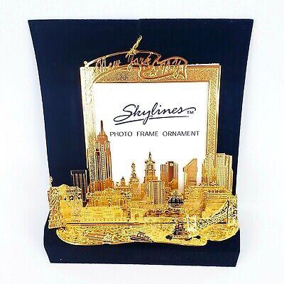 Skylines Photoframe Ornament Minature Gold Christmas Newyork City Souvenir ()