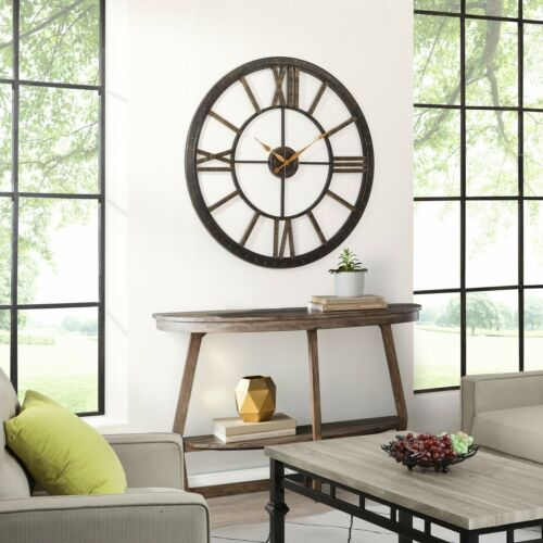 Oversized Wall Clock Large Living Room Office Decor Art Roman Numerals 40-Inch