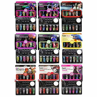 Halloween Face Paint Set (PaintGlow Face Paint Kit Glitter UV Glow In Dark Latex Gift Set Halloween)