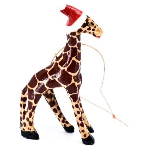 Hand Carved Painted Jacaranda Wood Santa Hat Giraffe Safari Christmas Ornament