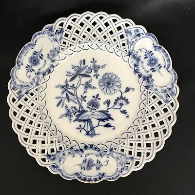 Antique-German Meissen Porcelain Blue Onion~Pierced-Gold Trim~Luncheon Plate-9""