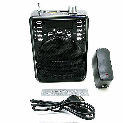 Amplificador Portatil con Radio FM MP3 Lector USB/SD/TF AUX Mic y Bateria...