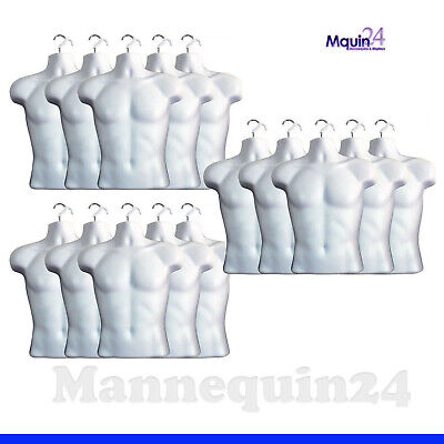15 White Mannequin Male Torso Dress Forms 15 Hangers - Men Clothing