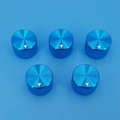 5pcs Blue 20 X 15.5mm Aluminum Alloy 6mm Dia Rotary Control Potentiometer Knob