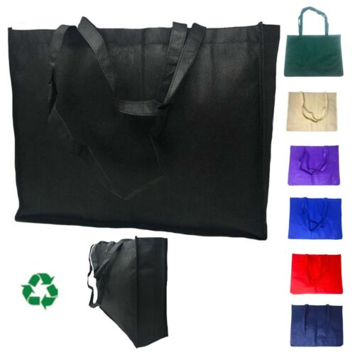 """3 Pack Extra Large Reusable Grocery Shopping Tote Bags Recycled Eco Friendly 20"""""""