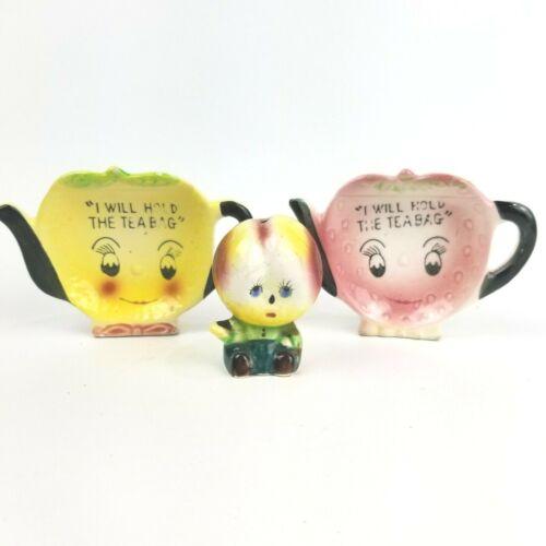 Vintage Napco Anthropomorphic Tea Bag Holders Set of 2 & 1 Salt & Pepper Shaker