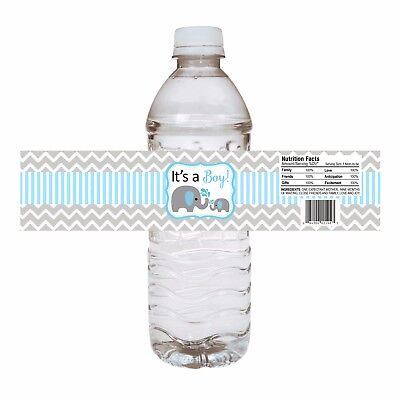 Baby Boy  Elephant Water Bottle Labels - Baby Shower Party Drink Stickers  - Drink Labels