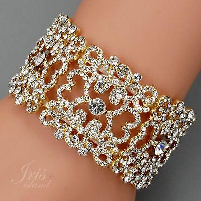18k Gold Überzogen Klar Kristall Strass Hochzeit Armband-Stulpe Stretcharmband ()