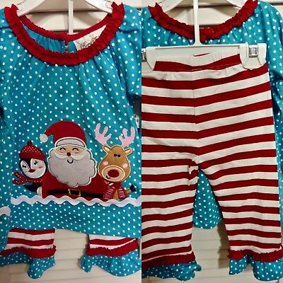 NWT $30 RARE EDITIONS 2pc SANTA CLAUSE OUTFIT 12 MOS & 18 MOS GIRL TURQ BLUE RED