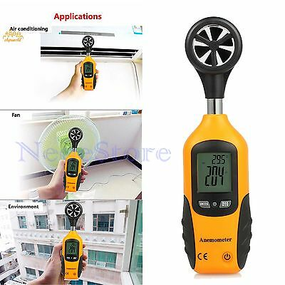 Digital Anemometer Handheld Wind Speed Meter Gauge Thermometer Lcd Air Velocity