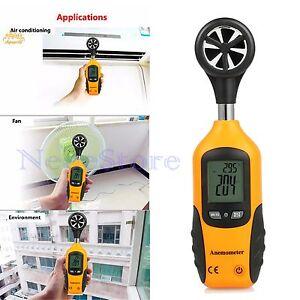 Digital Anemometer Handheld Wind Speed Meter Gauge Thermometer LCD Air velocity