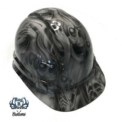 Hydro Dipped Hard Hat No Evil Skulls High Gloss Light Grey 6 Point Harness