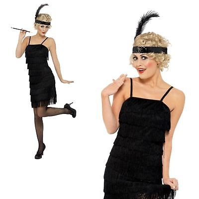Adult Ladies 1920s Gatsby Flapper Black Fringe Fancy Dress Costume & - Fringe Flapper Kleid Kostüm