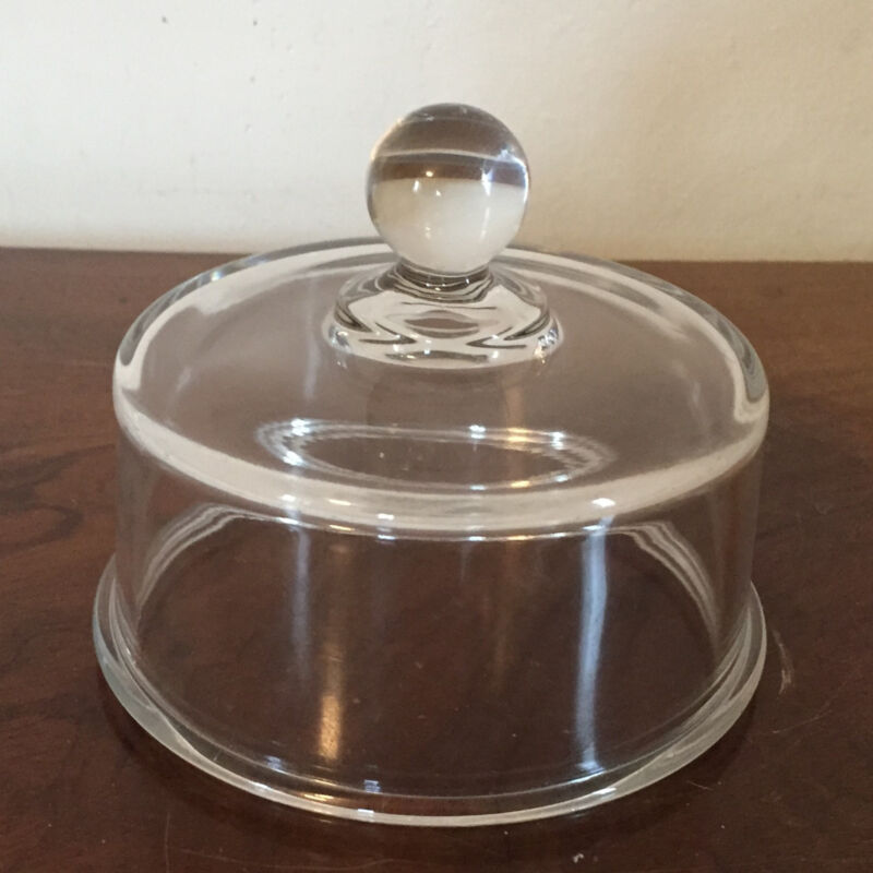 Vintage Glass Cheese Butter Dome Cover Clear Colorless