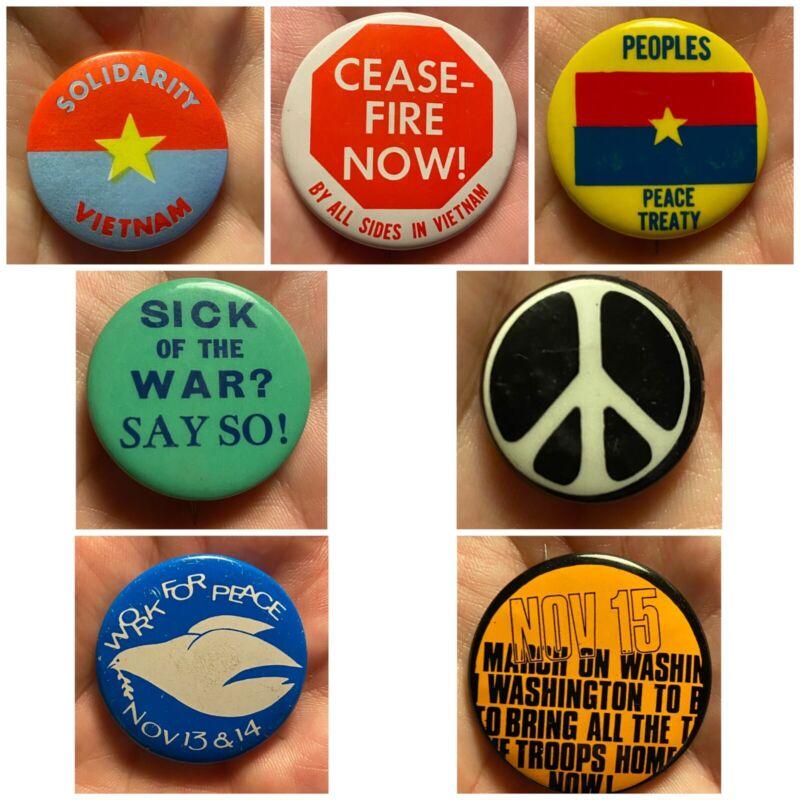 Vietnam War Protest Buttons Pinback Pins Lot of 7 1966 - 1971 Peace Anti War