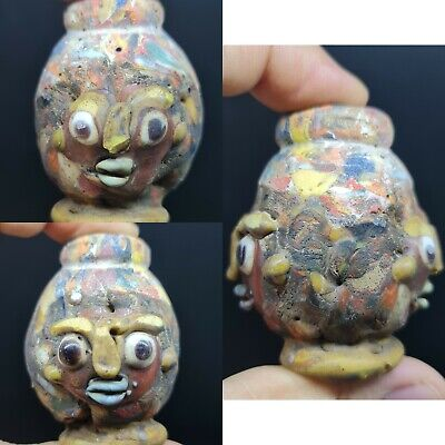 Antique wonderful glass big bead with 2 faces #