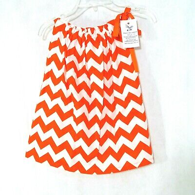Handmade Pillowcase Dress Girls Sizes 2T-3T Orange White Chevron Fall Halloween - Pillowcase Dress Halloween
