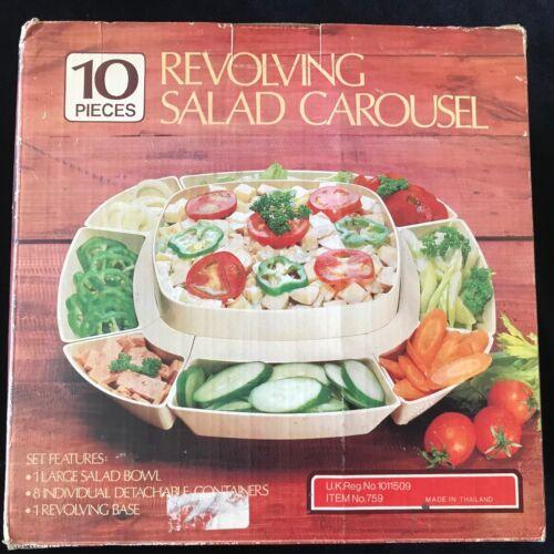 Vintage Revolving Salad Carousel Lazy Susan 10 pc NOS PROP