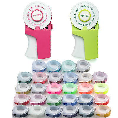Motex Embossing Label Maker E-303 4 Rolls Various Colour Tapes Free Shipping