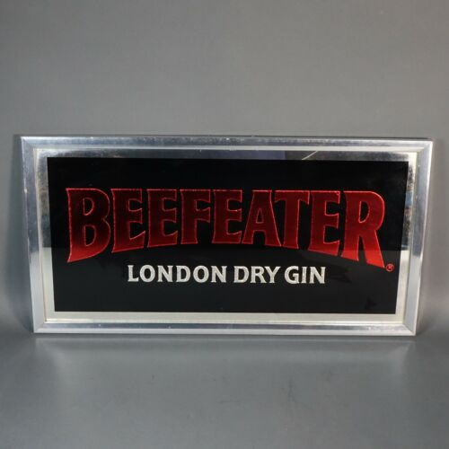 """Beefeater Gin Bar Mirror Sign, 11"""" x 25"""" Black & Red"""