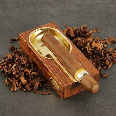 CIGARISM Creative Merbau Golden Copper Lined Cigar Ashtray Decoration