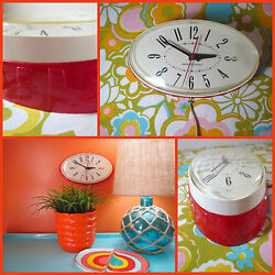 VTG 1950s MID Century GE 2H115 Red Plastic Oval Electric Kitchen Wall Clock
