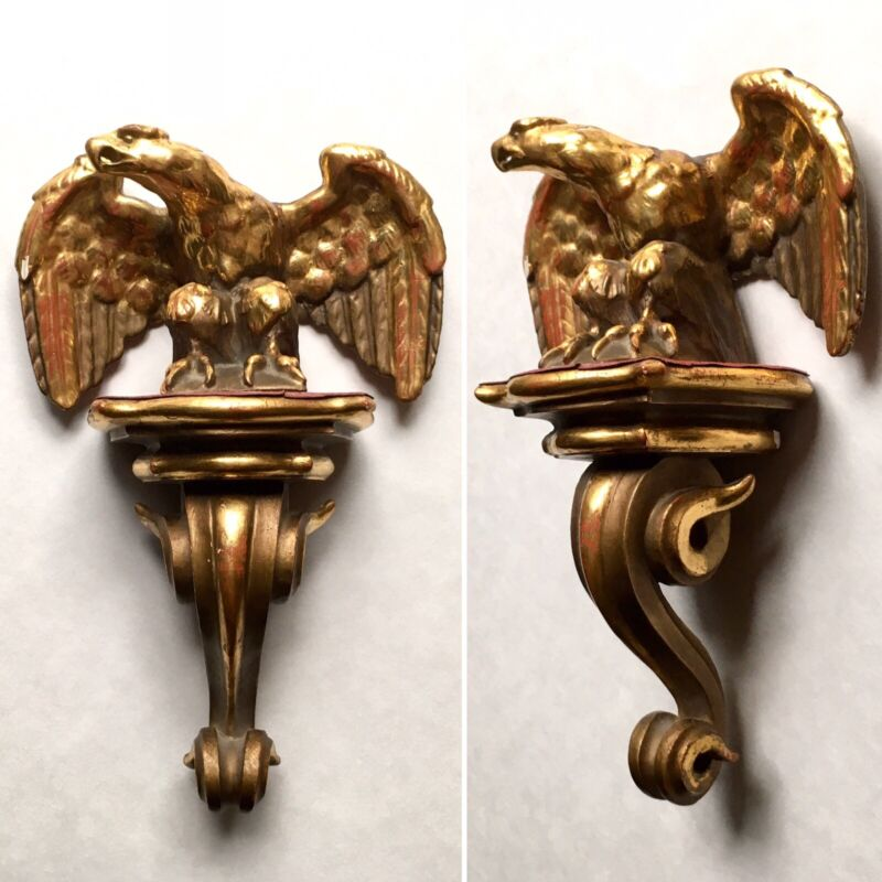 Antique Carved Gilt Wood Eagle Mounted on Bracket, Late 19th-Early 20th C Europe