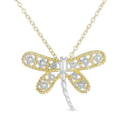 18k Gold Over Sterling Silver Diamond Accent Dragonfly Pendant, Chain 18