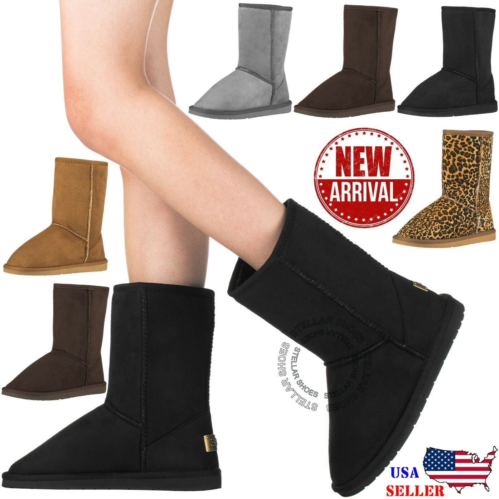 NEW Women's Winter Snow Boots Vegan Leather Classic Short