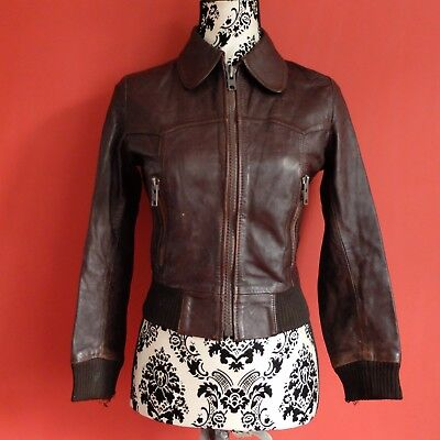 Used, Vintage 1970's Brown Leather Jacket  Unisex / Boys or Ladies Size 8-10 (UK) for sale  Shipping to South Africa