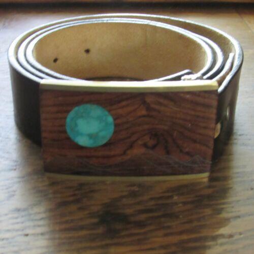 Vintage Kenneth Reid Turquoise brass wood belt buckle