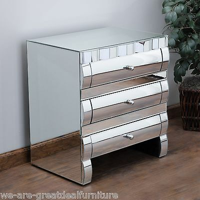 Bedroom Furniture Modern Design 3-Drawer Mirror Nightstand