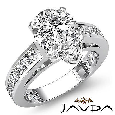 Cathedral Channel Prong Setting Pear Cut Diamond Engagement Ring GIA G SI1 2.2Ct
