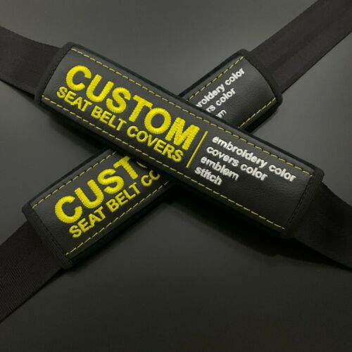 Black seat belt pads Covers with custom embroidery yellow or any color 2pcs