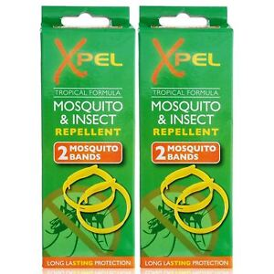 Xpel 4 x Adult Mosquito & Insect Bug Repellent Wrist Bands Protection Bracelets