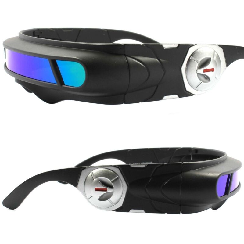 Space Age Cyber Goth Sci-Fi Costume Green Blue Mirror Shield Visor Sunglasses