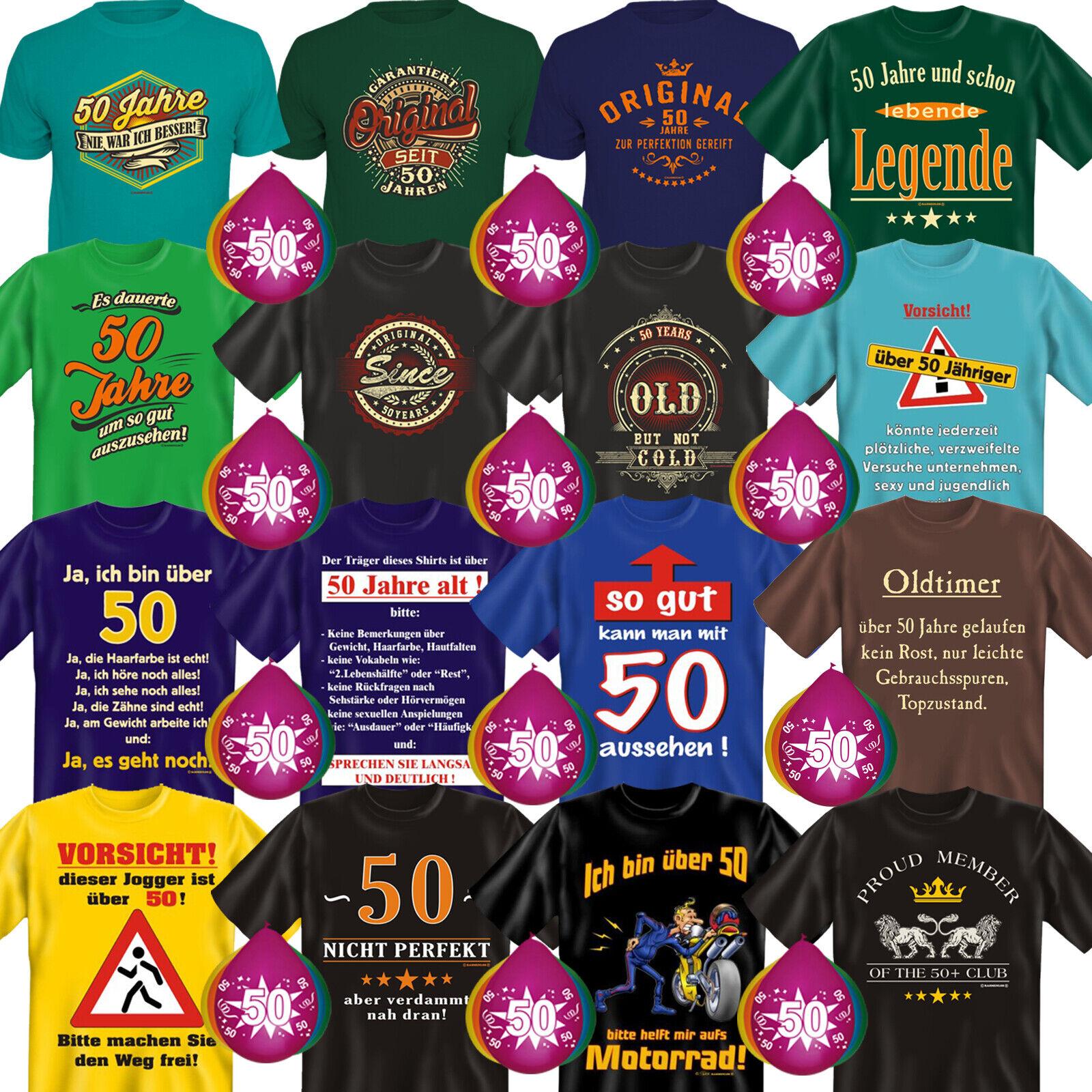 Geschenkset T-Shirt + 5 Luftballons zum 50. Geburtstag 50sten Happy Birthday 50