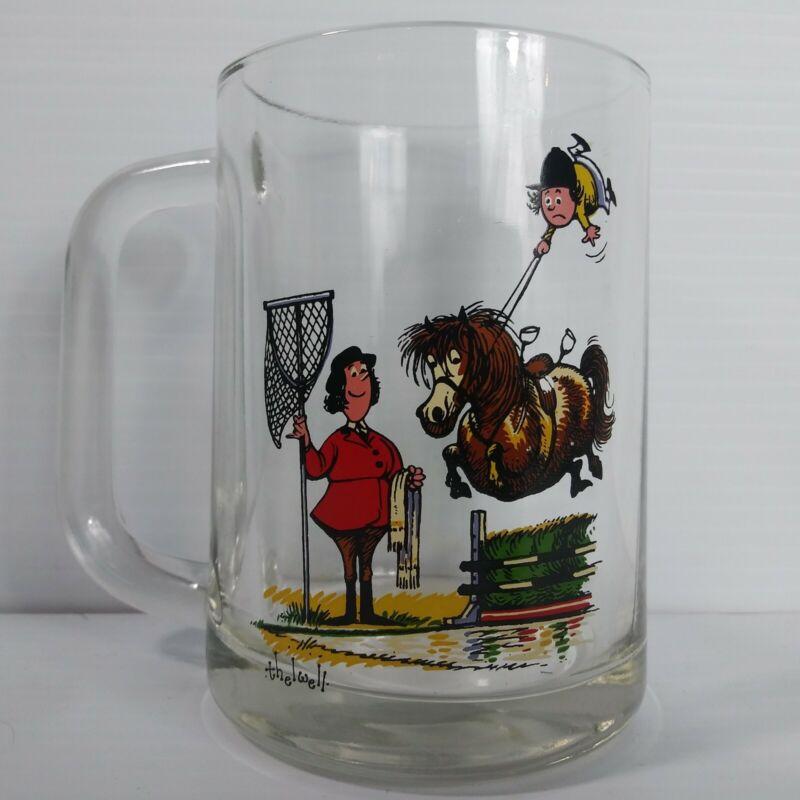 Norman Thelwell Art Glass Mug Equestrian Cartoon Comic