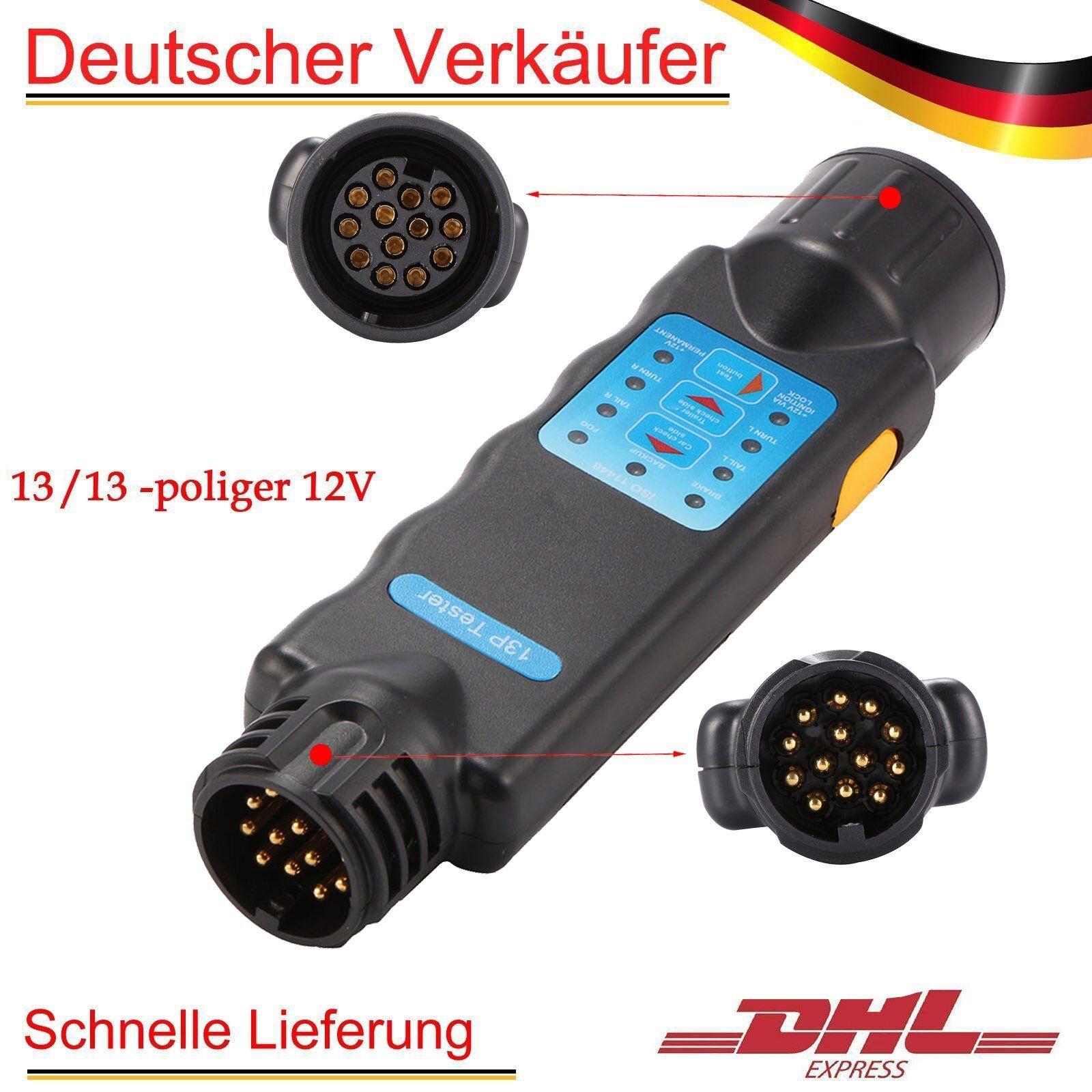 13-13 Pol Prüfgerät Anhänger Tester Trailer Prüfer Stecker Steckdose Wohnwagen